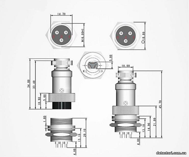Разъем mini XLR на 8 контактов, металлический круглый